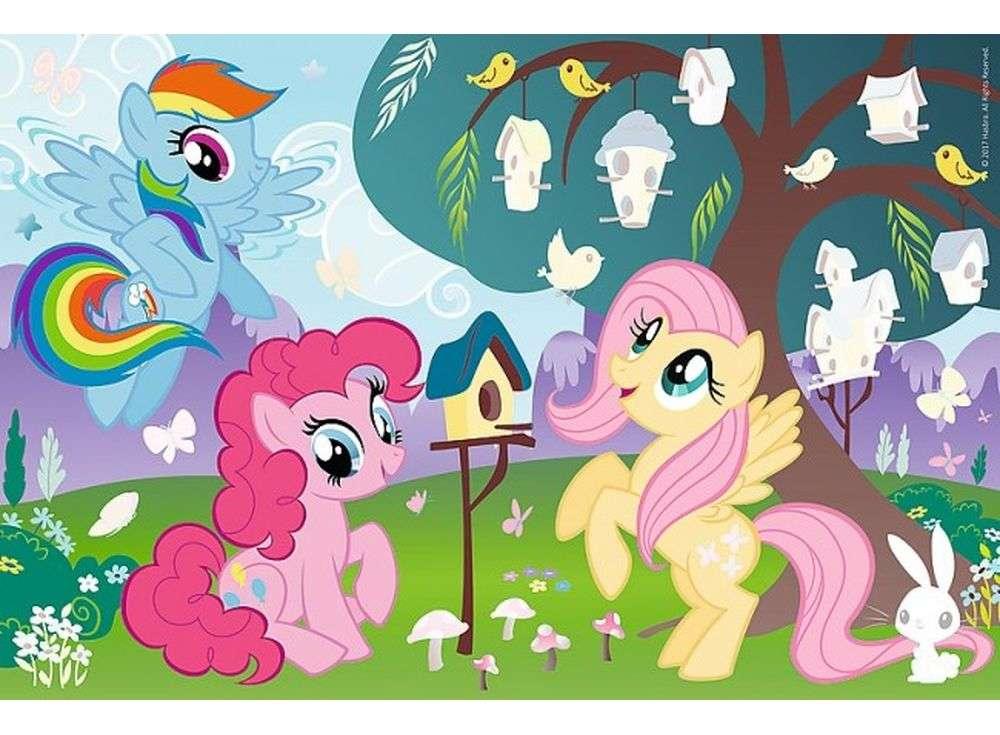 Пазлы «Пони и птичье дерево» + наклейкиTrefl<br><br><br>Артикул: 75116<br>Размер: 33x22 см<br>Возраст: от 3 лет