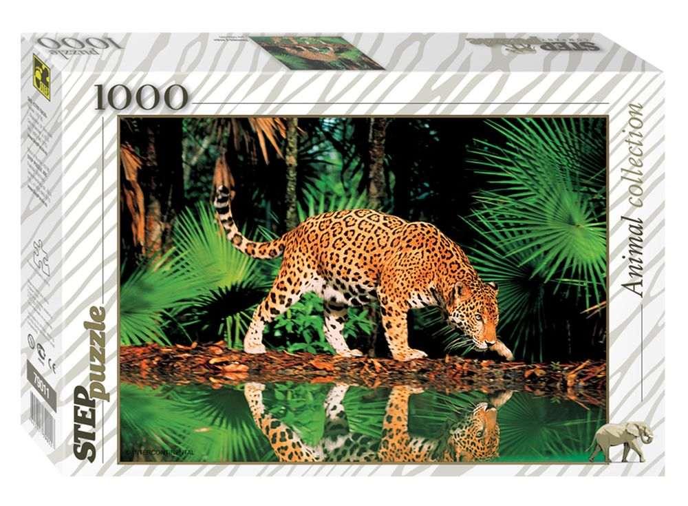 Пазлы «Леопард у воды»Пазлы от производителя Step Puzzle<br><br><br>Артикул: 79011<br>Размер: 48x68 см<br>Размер упаковки: 33x21,5x5,5 см<br>Возраст: от 7 лет