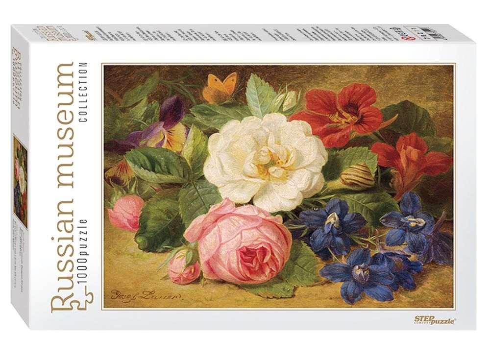 Пазлы «Букет цветов с улиткой»Пазлы от производителя Step Puzzle<br><br><br>Артикул: 79211<br>Размер: 68x48 см<br>Размер упаковки: 21,5x33x6 см<br>Возраст: от 7 лет