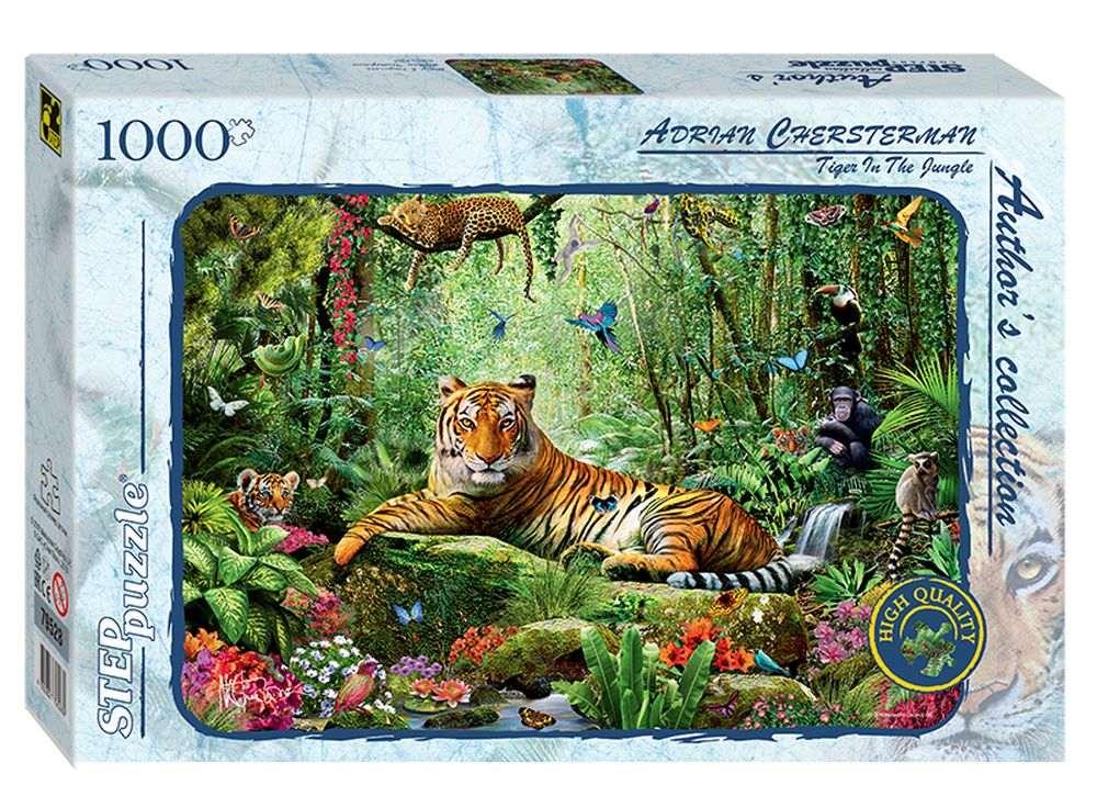 Пазлы «Тигр в джунглях»Пазлы от производителя Step Puzzle<br><br><br>Артикул: 79528<br>Размер: 68x48 см<br>Размер упаковки: 40x27x5,5 см<br>Возраст: от 7 лет
