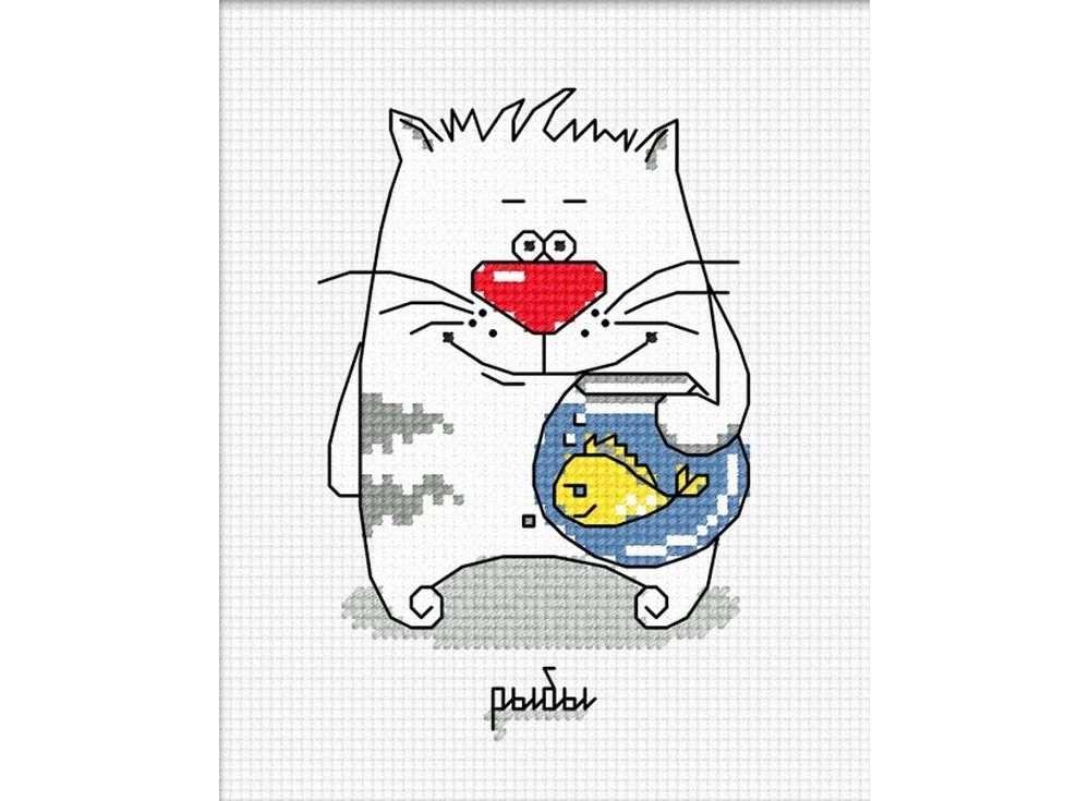 Набор для вышивания «Кошачий гороскоп. Рыбы»Вышивка крестом Овен<br><br><br>Артикул: 838<br>Основа: канва Aida 14<br>Размер: 8х12 см<br>Техника вышивки: счетный крест<br>Тип схемы вышивки: Цветная схема<br>Цвет канвы: Белый<br>Количество цветов: 6<br>Заполнение: Частичное<br>Рисунок на канве: не нанесён<br>Техника: Вышивка крестом