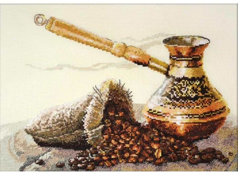 Набор для вышивания «Запах кофе»Вышивка крестом Овен<br><br><br>Артикул: 880<br>Основа: канва Aida 14<br>Размер: 33х22 см<br>Техника вышивки: счетный крест<br>Тип схемы вышивки: Цветная схема вышивки<br>Цвет канвы: Бежевый<br>Количество цветов: 24<br>Заполнение: Частичное