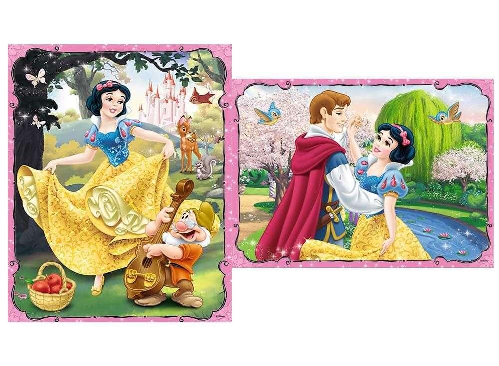 Пазлы «Влюблённая Белоснежка» + карточки мемоTrefl<br><br><br>Артикул: 90603<br>Размер: 27,5x20,5 см<br>Возраст: от 3 лет