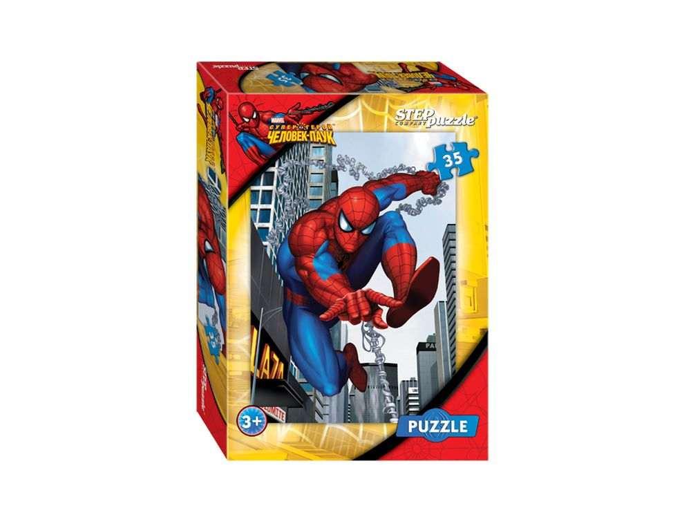 Пазлы «Человек-паук»Пазлы от производителя Step Puzzle<br><br><br>Артикул: 91111<br>Размер: 33x23 см<br>Размер упаковки: 19,5x13,7x3,5 см<br>Возраст: от 3 лет