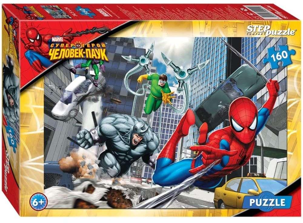Пазлы «Человек-паук»Пазлы от производителя Step Puzzle<br><br><br>Артикул: 94011<br>Размер: 34,5x24 см<br>Размер упаковки: 28x19,5x4 см<br>Возраст: от 5 лет