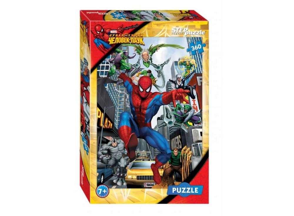 Пазлы «Человек-паук»Пазлы от производителя Step Puzzle<br><br><br>Артикул: 96011<br>Размер: 50x34,5 cм<br>Размер упаковки: 33,5x21,5x3,9 см<br>Возраст: от 6 лет