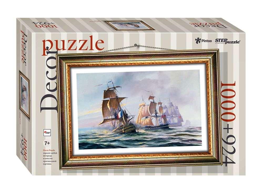 Пластиковый пазл «Морской бой» + рамка-пазлПазлы от производителя Step Puzzle<br><br><br>Артикул: 98026<br>Размер: 72,5x51,5 см<br>Размер упаковки: 40x27x5,5 см<br>Возраст: от 7 лет