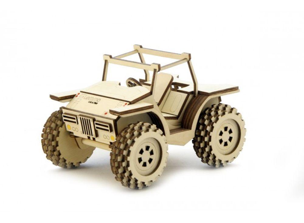 Конструктор «Багги»3D Конструкторы Lemmo<br>Экологически чистые, развивающие конструкторы от российского производителя Lemmo помогут вашему ребенку развить мелкую моторику рук, воображение, пространственное мышление, логику и познакомят с предметным моделированием.<br> <br>Все детали выполнены из кач...<br><br>Артикул: АВ-4<br>Вес: 300 г<br>Размер готовой модели: 10,5x14,5x13,5 см<br>Материал: дерево (фанера)<br>Возраст: от 5 лет