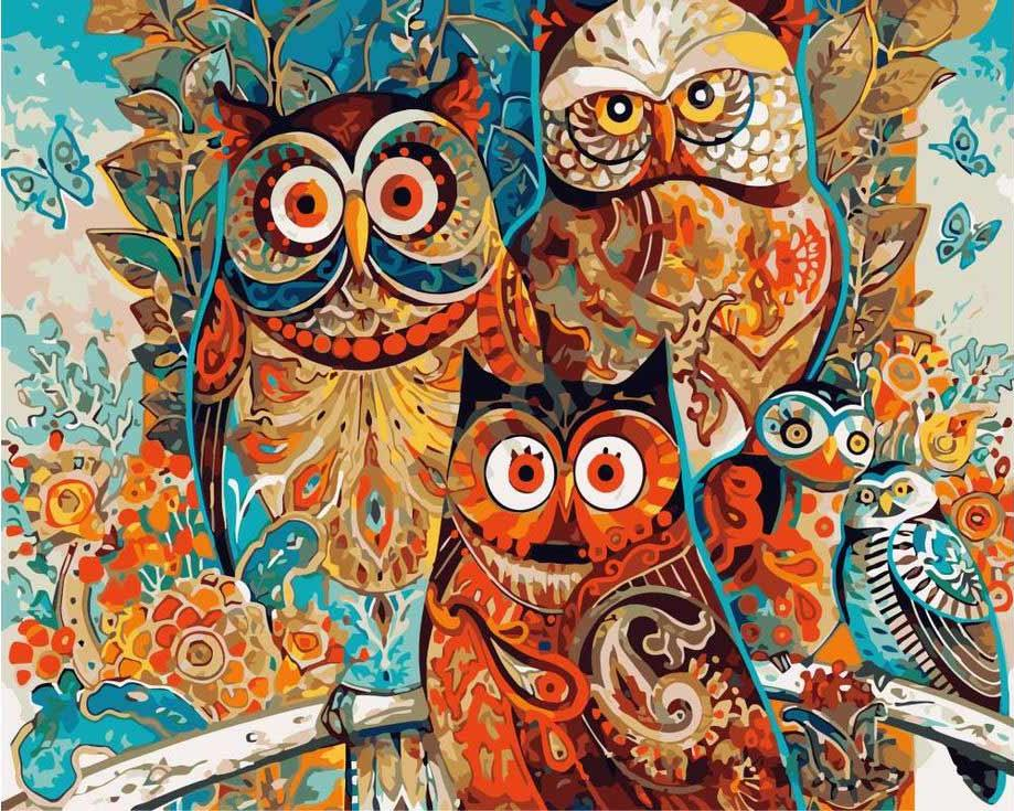 «Совы» Дэвида ГалхатаРаскраски по номерам Color Kit<br><br><br>Артикул: CG669<br>Основа: Холст<br>Сложность: средние<br>Размер: 40x50 см<br>Количество цветов: 25<br>Техника рисования: Без смешивания красок