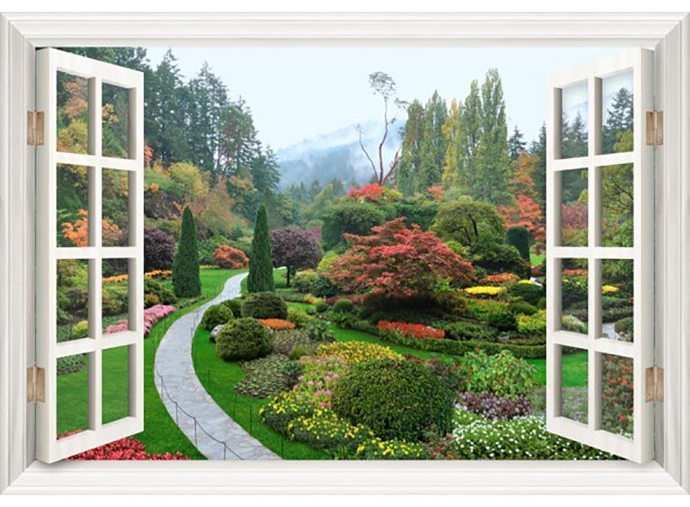 Стразы «Сад в окне»Яркие Грани<br><br><br>Артикул: DS136<br>Основа: Холст без подрамника<br>Сложность: очень сложные<br>Размер: 72x50 см<br>Выкладка: Полная<br>Количество цветов: 55<br>Тип страз: Квадратные