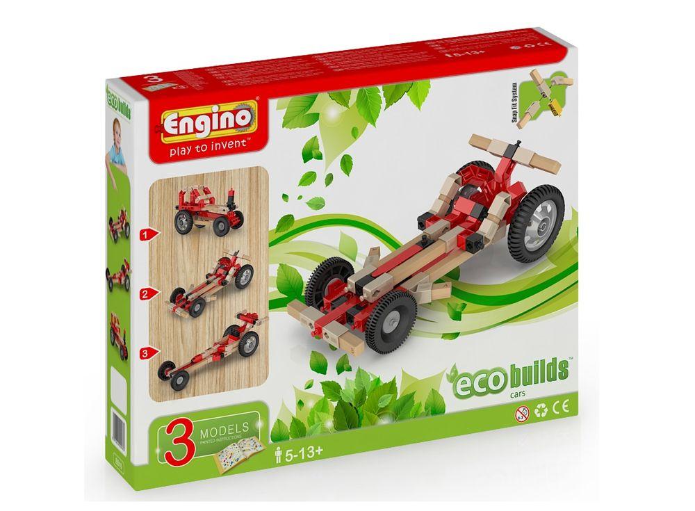 Конструктор Engino АвтомобилиПластиковые конструкторы (Модели для сборки) Engino<br><br><br>Артикул: EB10<br>Вес: 441 г<br>Серия: ECO BUILDS<br>Материал: Пластик/дерево<br>Размер упаковки: 21x27x5 см<br>Возраст: от 5 лет