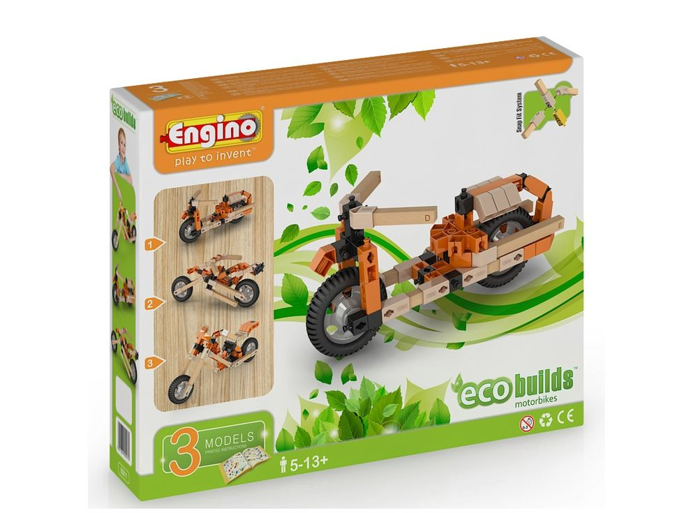 Конструктор Engino МотоциклыПластиковые конструкторы (Модели для сборки) Engino<br>Конструктор Engino ECO BUILDS мотоциклы — относится к гибридным конструкторам. В наборе есть детали из пластика и дерева. А благодаря системе крепления конструкторов Engino, детали из пластика соединяются с деревянными без клея.<br> В наборе Engino ECO BUIL...<br><br>Артикул: EB11<br>Вес: 395 г<br>Серия: ECO BUILDS<br>Материал: Пластик/дерево<br>Размер упаковки: 21x27x5 см<br>Возраст: от 5 лет