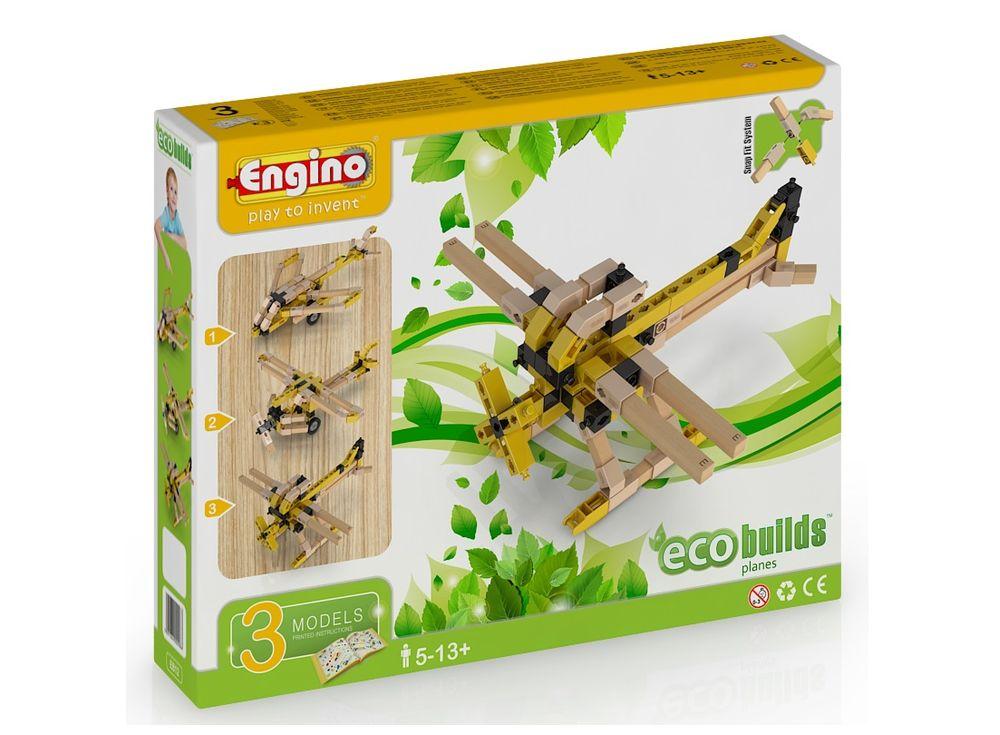 Конструктор Engino СамолетыПластиковые конструкторы (Модели для сборки) Engino<br>Набор Engino ECO BUILDS Самолеты — относится к гибридному конструктору, который состоит из пластиковых и деревянных деталей. Они крепятся между без клея благодаря уникальной системе фиксации. Детали набора предусматривают до 6 вариантов соединения между с...<br><br>Артикул: EB12<br>Вес: 402 г<br>Серия: ECO BUILDS<br>Материал: Пластик/дерево<br>Размер упаковки: 22x28x6 см<br>Возраст: от 5 лет