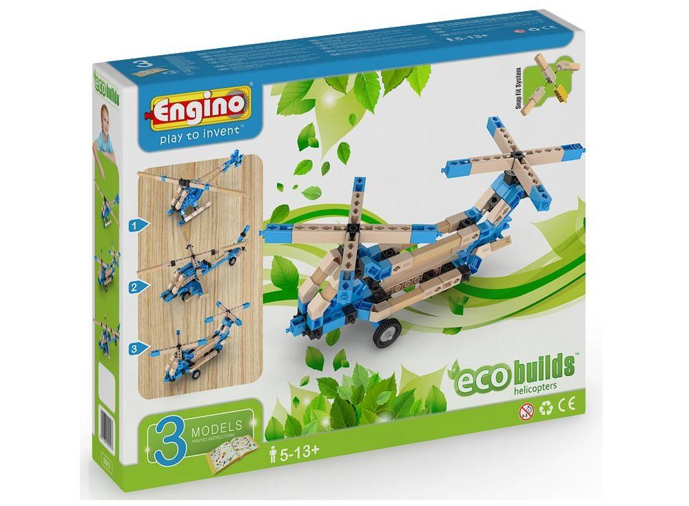 Конструктор Engino ВертолетыПластиковые конструкторы (Модели для сборки) Engino<br>Конструктор Engino ECO BUILDS Вертолеты — это уникальный гибридный конструктор. Внутри набора - детали из пластика и дерева, и они прекрасно соединяются друг с другом без клея. Весь секрет заключается в уникальной системе креплений Engino, которая предусм...<br><br>Артикул: EB13<br>Вес: 438 г<br>Серия: ECO BUILDS<br>Материал: Пластик/дерево<br>Размер упаковки: 27x21x5 см<br>Возраст: от 5 лет