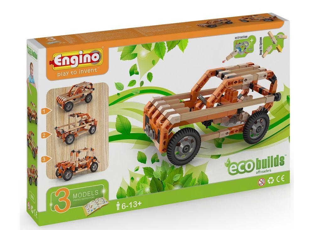 Конструктор Engino ВнедорожникиПластиковые конструкторы (Модели для сборки) Engino<br><br><br>Артикул: EB60<br>Вес: 803 г<br>Серия: ECO BUILDS<br>Материал: Пластик/дерево<br>Размер упаковки: 26x6x42 см<br>Возраст: от 5 лет