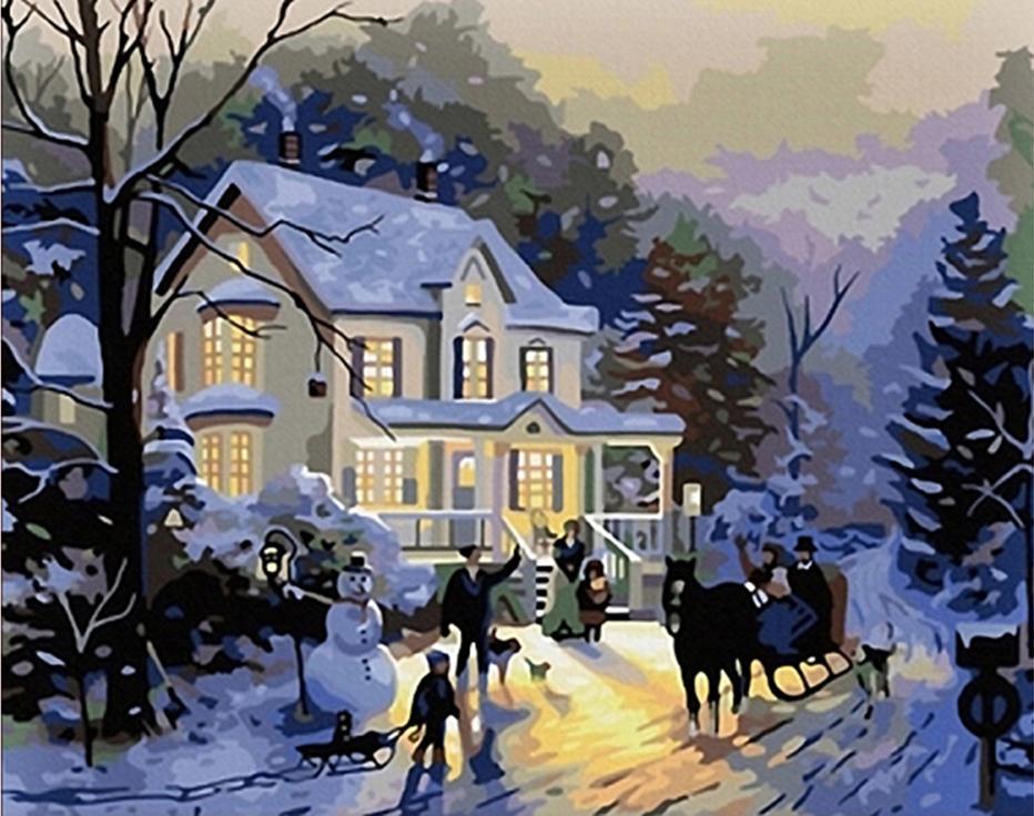 «Зимний вечер» Томаса КинкейдаPaintboy (Premium)<br><br><br>Артикул: G103<br>Основа: Холст<br>Сложность: сложные<br>Размер: 40x50 см<br>Количество цветов: 24<br>Техника рисования: Без смешивания красок