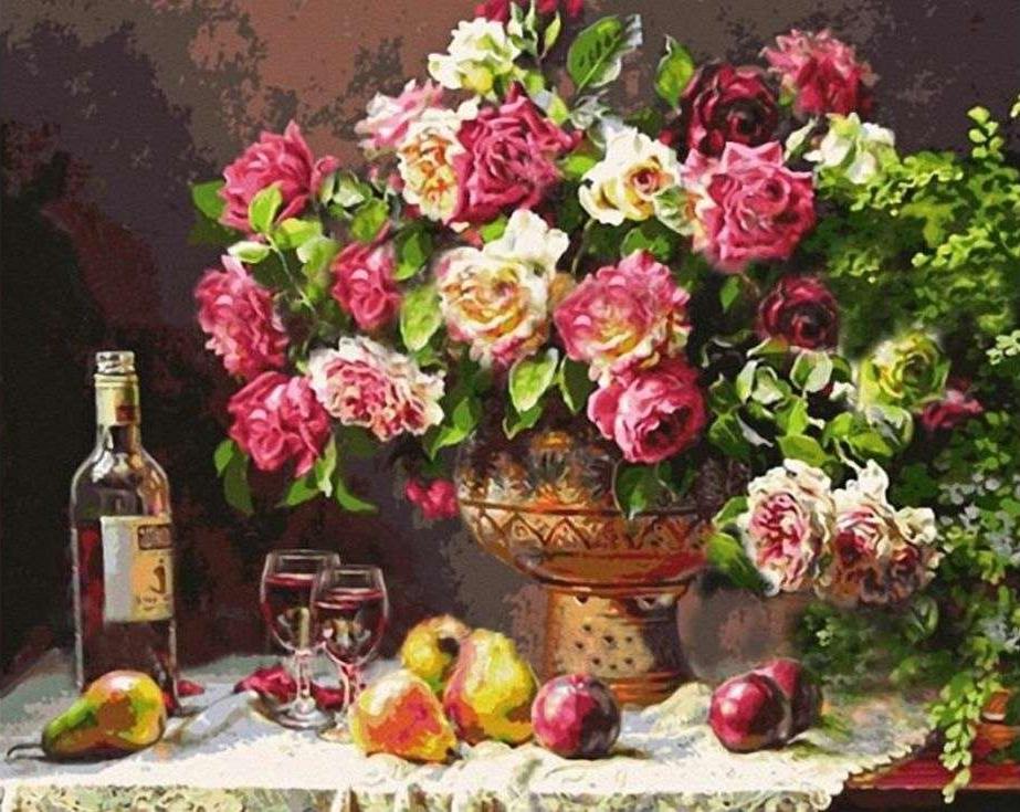 «Винный натюрморт» Энн МортонPaintboy (Premium)<br><br><br>Артикул: G278<br>Основа: Холст<br>Сложность: сложные<br>Размер: 40x50 см<br>Количество цветов: 23<br>Техника рисования: Без смешивания красок