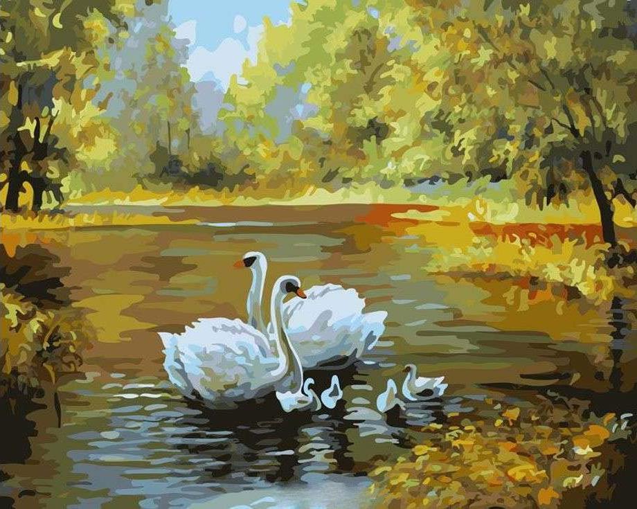 «Лебеди на осеннем пруду»Paintboy (Premium)<br><br><br>Артикул: G312<br>Основа: Холст<br>Сложность: сложные<br>Размер: 40x50<br>Количество цветов: 24<br>Техника рисования: Без смешивания красок