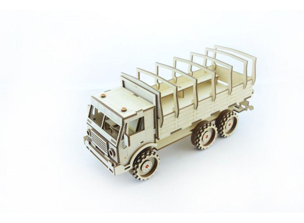 Конструктор «Военный Грузовик»3D Конструкторы Lemmo<br>Экологически чистые, развивающие конструкторы от российского производителя Lemmo помогут вашему ребенку развить мелкую моторику рук, воображение, пространственное мышление, логику и познакомят с предметным моделированием.<br> <br> Все детали выполнены из ка...<br><br>Артикул: ГР-5<br>Вес: 440 г<br>Размер готовой модели: 28,5x12,5x11 см<br>Материал: дерево (фанера)<br>Возраст: от 5 лет