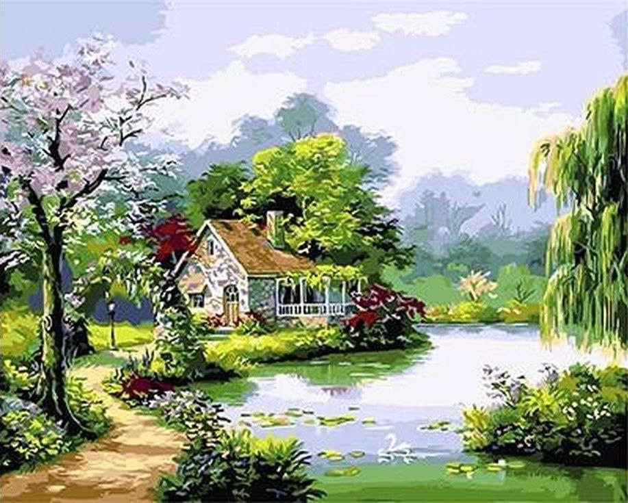 «Домик на берегу озера»Paintboy (Premium)<br><br><br>Артикул: GX3035<br>Основа: Холст<br>Сложность: сложные<br>Размер: 40x50<br>Количество цветов: 26<br>Техника рисования: Без смешивания красок