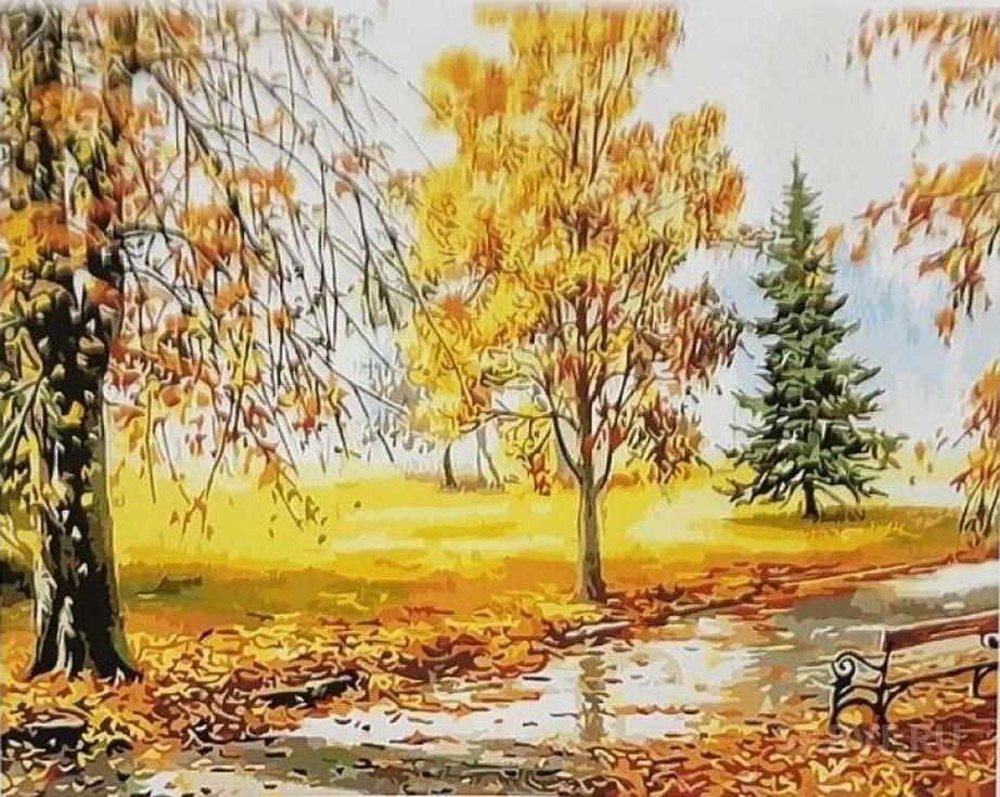 Картина по номерам «Золотая осень»Paintboy (Premium)<br><br><br>Артикул: GX3172<br>Основа: Холст<br>Сложность: сложные<br>Размер: 40x50 см<br>Количество цветов: 24<br>Техника рисования: Без смешивания красок