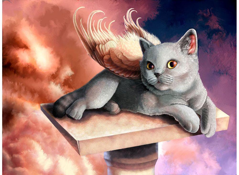 Картина по номерам «Котенок-ангел» GX3381 Paintboy ...