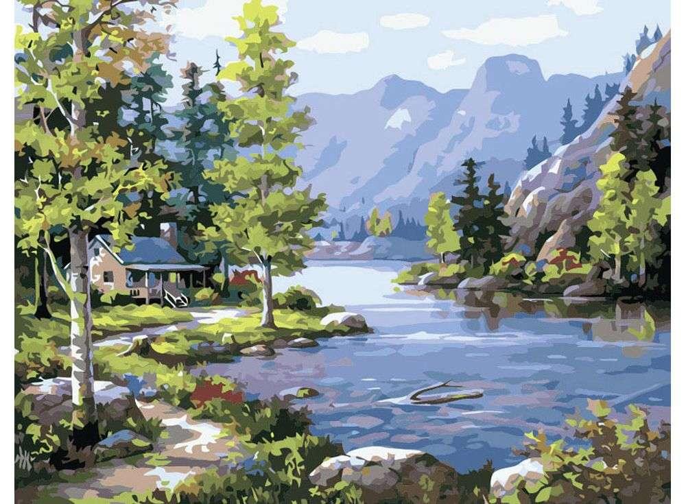 «Домик у лесного озера»Paintboy (Premium)<br><br><br>Артикул: GX3565<br>Основа: Холст<br>Сложность: сложные<br>Размер: 40x50 см<br>Количество цветов: 26<br>Техника рисования: Без смешивания красок