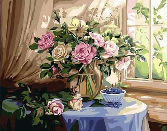 «Натюрморт с розами»Раскраски по номерам Paintboy (Original)<br><br><br>Артикул: GX3701_R<br>Основа: Холст<br>Сложность: сложные<br>Размер: 40x50 см<br>Количество цветов: 30<br>Техника рисования: Без смешивания красок