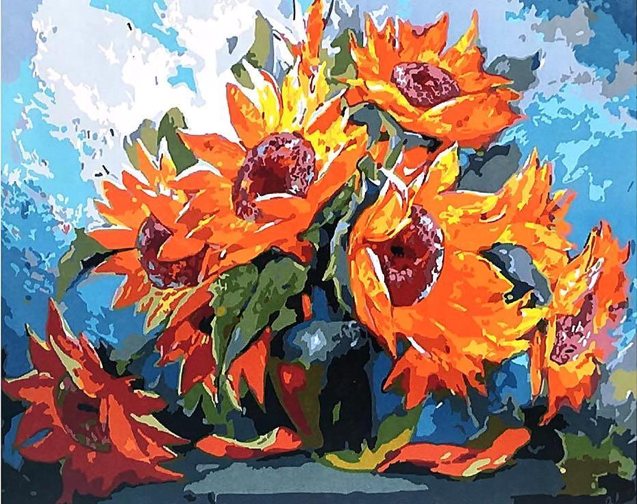 «Огненные подсолнухи» Антона ГорцевичаPaintboy (Premium)<br><br><br>Артикул: GX3727<br>Основа: Холст<br>Сложность: средние<br>Размер: 40x50 см<br>Количество цветов: 25<br>Техника рисования: Без смешивания красок