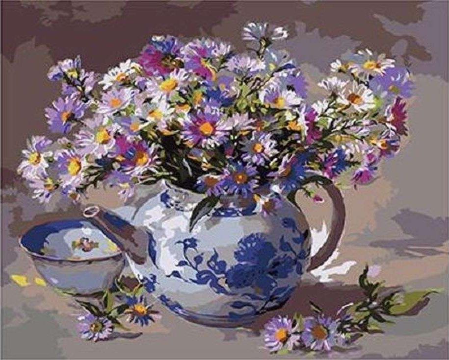 «Ромашки в чайнике»Paintboy (Premium)<br><br><br>Артикул: GX3829<br>Основа: Холст<br>Сложность: сложные<br>Размер: 40x50<br>Количество цветов: 24<br>Техника рисования: Без смешивания красок