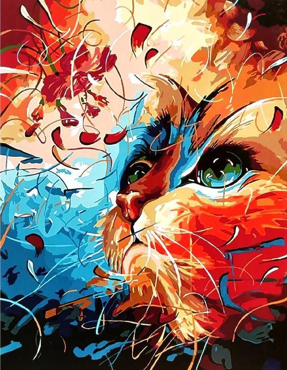 «Яркий кот» Наушада ВахидаРаскраски по номерам Paintboy (Original)<br><br><br>Артикул: GX3949_R<br>Основа: Холст<br>Сложность: средние<br>Размер: 40x50 см<br>Количество цветов: 26<br>Техника рисования: Без смешивания красок