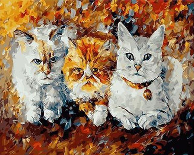 Картина по номерам «Три кота» Леонида АфремоваРаскраски по номерам Paintboy (Original)<br><br><br>Артикул: GX3958_R<br>Основа: Холст<br>Сложность: средние<br>Размер: 40x50 см<br>Количество цветов: 24<br>Техника рисования: Без смешивания красок