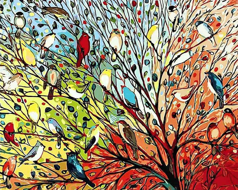 Картина по номерам «Волшебные птички» Дженифер ЛоммерсРаскраски по номерам Paintboy (Original)<br><br><br>Артикул: GX3962_R<br>Основа: Холст<br>Сложность: средние<br>Размер: 40х50 см<br>Количество цветов: 24-30<br>Техника рисования: Без смешивания красок