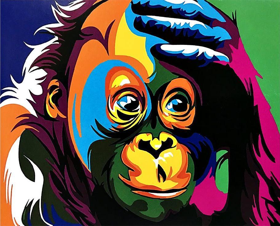 «Разноцветная шимпанзе»Paintboy (Premium)<br><br><br>Артикул: GX3964<br>Основа: Холст<br>Сложность: легкие<br>Размер: 40x50 см<br>Количество цветов: 14<br>Техника рисования: Без смешивания красок