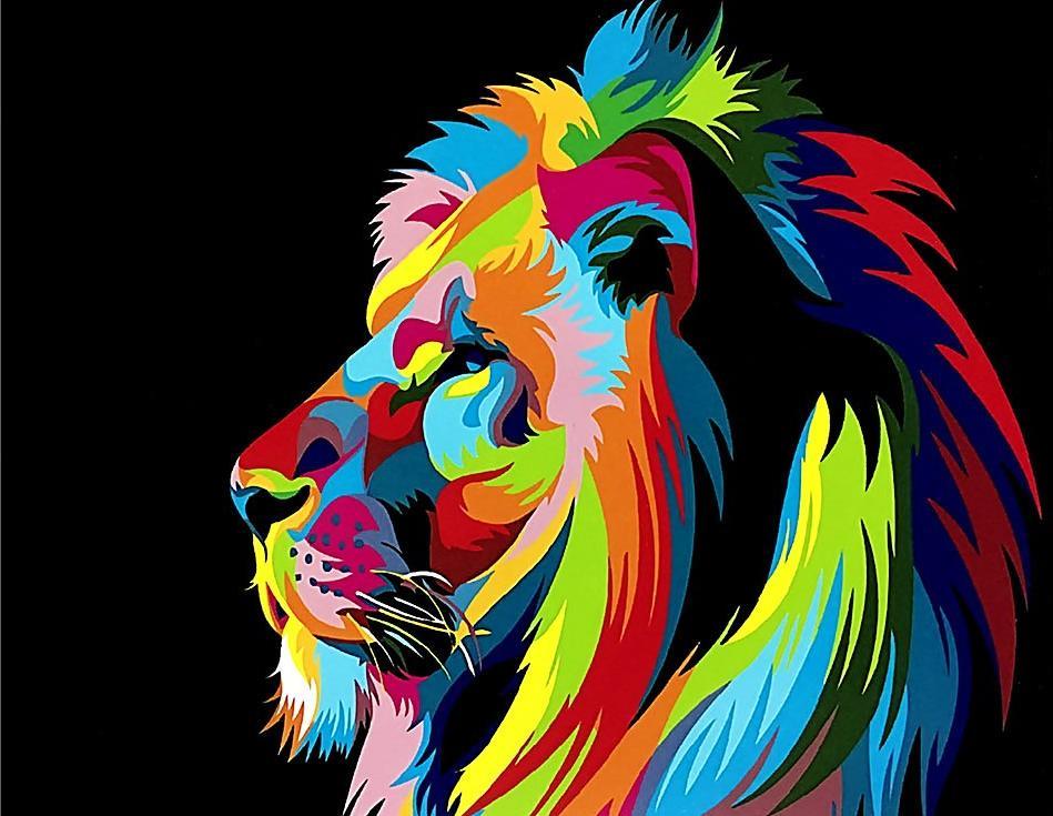 «Радужный лев в профиль» Ваю РомдониPaintboy (Premium)<br><br><br>Артикул: GX3973<br>Основа: Холст<br>Сложность: легкие<br>Размер: 40x50 см<br>Количество цветов: 19<br>Техника рисования: Без смешивания красок