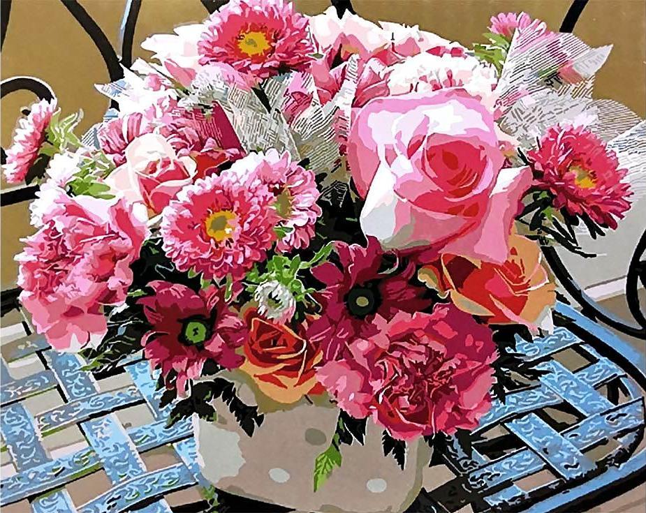 «Розовое ассорти»Paintboy (Premium)<br><br><br>Артикул: GX4095<br>Основа: Холст<br>Сложность: средние<br>Размер: 40x50<br>Количество цветов: 25<br>Техника рисования: Без смешивания красок