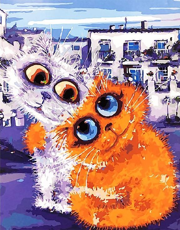«Городские коты» Бориса КасьяноваPaintboy (Premium)<br><br><br>Артикул: GX4100<br>Основа: Холст<br>Сложность: сложные<br>Размер: 40x50 см<br>Количество цветов: 28<br>Техника рисования: Без смешивания красок