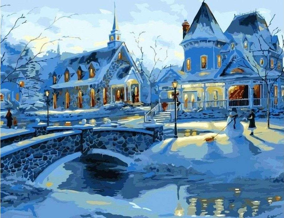 Картина по номерам «Зимние усадьбы» Роберта ФайнэлаPaintboy (Premium)<br><br><br>Артикул: GX6376<br>Основа: Холст<br>Сложность: сложные<br>Размер: 40x50 см<br>Количество цветов: 22<br>Техника рисования: Без смешивания красок