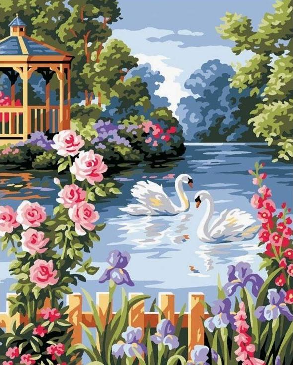 «Лебеди на пруду»Paintboy (Premium)<br><br><br>Артикул: GX6712<br>Основа: Холст<br>Сложность: сложные<br>Размер: 40x50 см<br>Количество цветов: 18<br>Техника рисования: Без смешивания красок