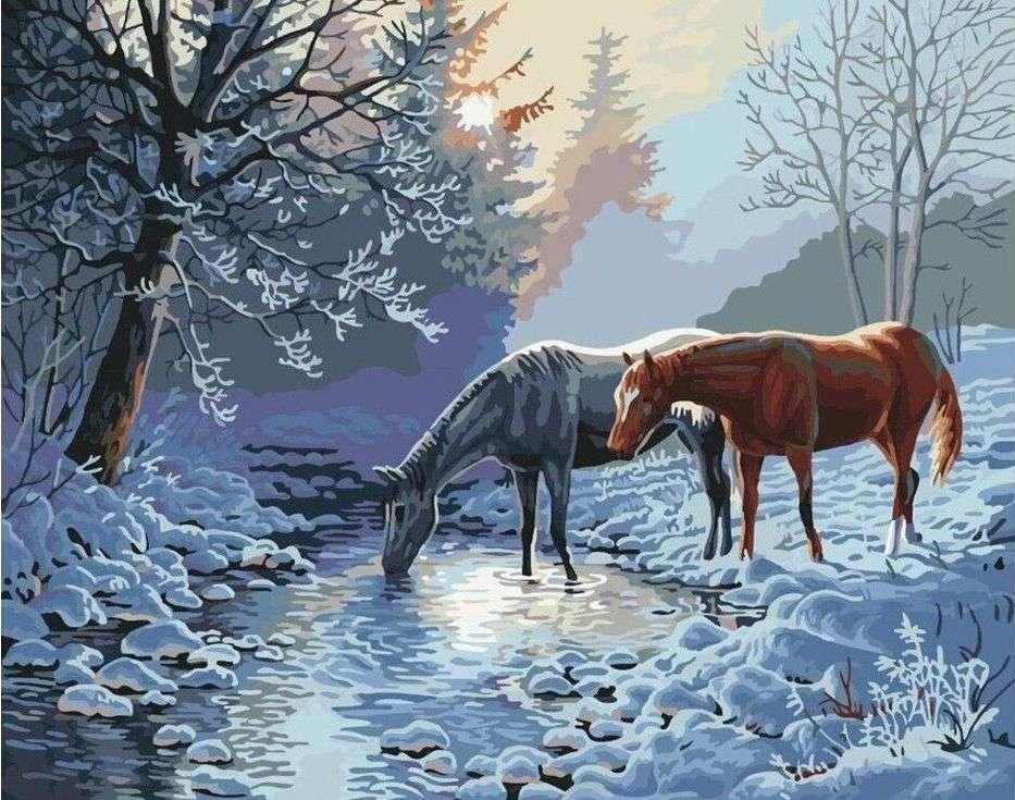 Картина по номерам «Лошади морозным утром»Paintboy (Premium)<br><br><br>Артикул: GX7013<br>Основа: Холст<br>Сложность: сложные<br>Размер: 40x50 см<br>Количество цветов: 26<br>Техника рисования: Без смешивания красок