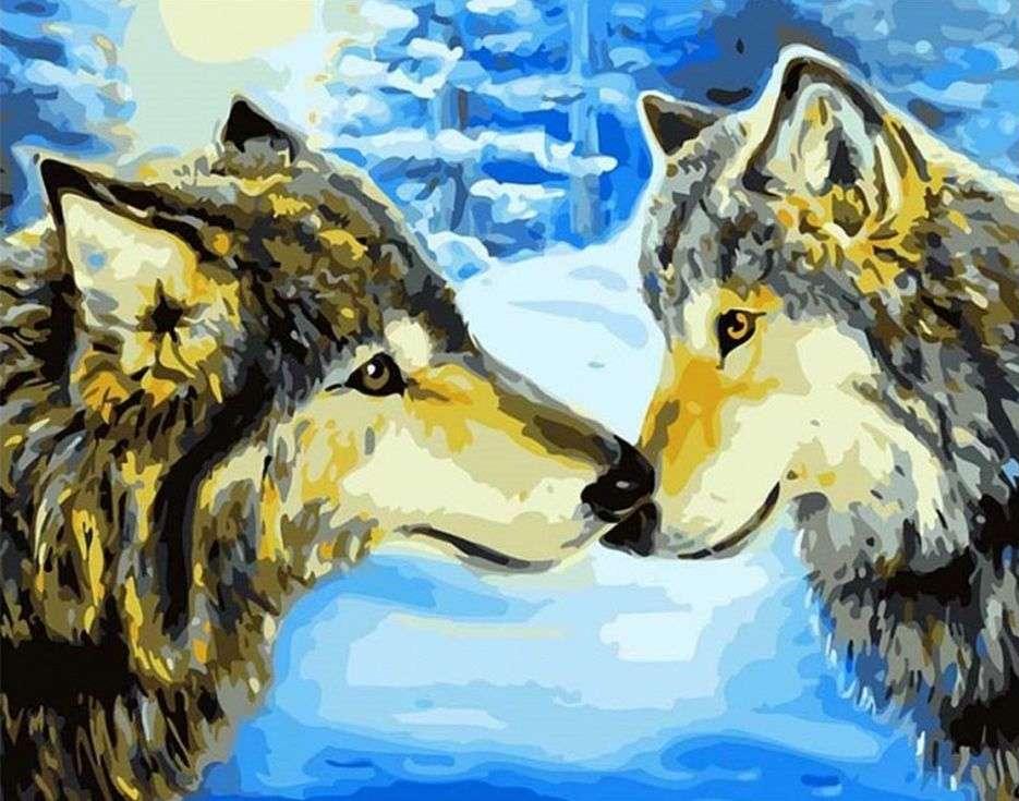 «Волки в зимнем лесу»Paintboy (Premium)<br><br><br>Артикул: GX7194<br>Основа: Холст<br>Сложность: сложные<br>Размер: 40x50 см<br>Количество цветов: 22<br>Техника рисования: Без смешивания красок