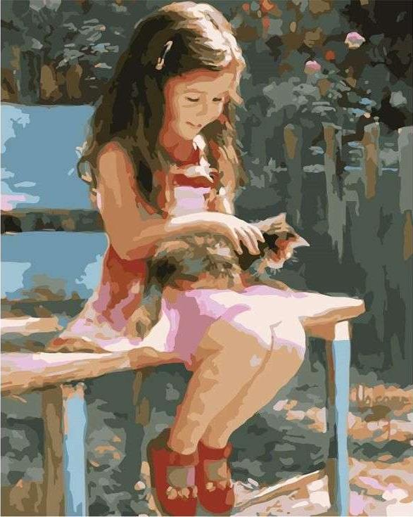 «Девочка с котенком» Владимира ВолеговаPaintboy (Premium)<br><br><br>Артикул: GX7209<br>Основа: Холст<br>Сложность: сложные<br>Размер: 40x50 см<br>Количество цветов: 23<br>Техника рисования: Без смешивания красок