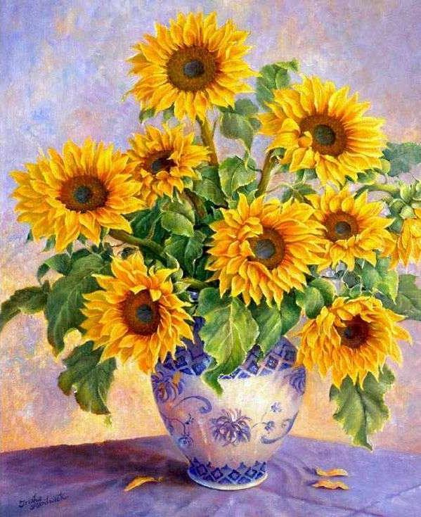 «Солнечные цветы»Paintboy (Premium)<br><br><br>Артикул: GX7689<br>Основа: Холст<br>Сложность: сложные<br>Размер: 40x50 см<br>Количество цветов: 27<br>Техника рисования: Без смешивания красок