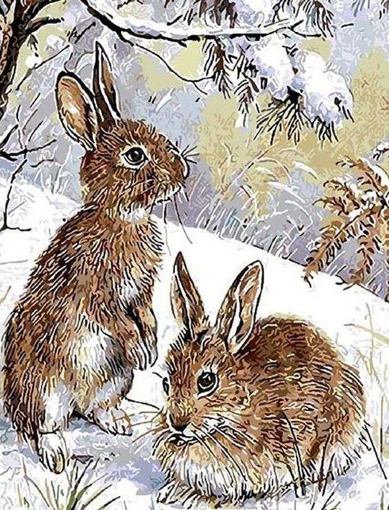 Картина по номерам «Кролики на снегу»Paintboy (Premium)<br><br><br>Артикул: GX8749<br>Основа: Холст<br>Сложность: сложные<br>Размер: 40x50 см<br>Количество цветов: 24<br>Техника рисования: Без смешивания красок