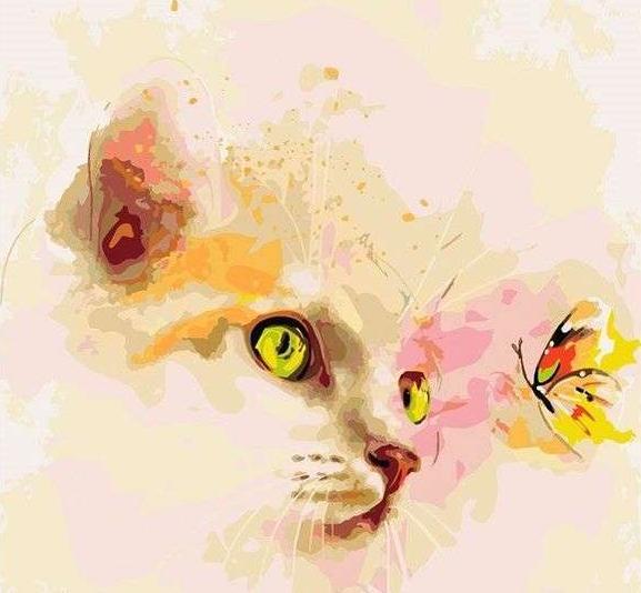 «Котенок и бабочка»Paintboy (Premium)<br><br><br>Артикул: GX9058<br>Основа: Холст<br>Сложность: сложные<br>Размер: 40x50 см<br>Количество цветов: 21<br>Техника рисования: Без смешивания красок