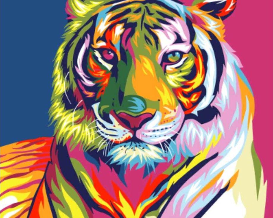 Картина по номерам «Радужный тигр» Ваю РомдониPaintboy (Premium)<br><br><br>Артикул: GX9203<br>Основа: Холст<br>Сложность: сложные<br>Размер: 40x50 см<br>Художник: Ваю Ромдони<br>Количество цветов: 14<br>Техника рисования: Без смешивания красок