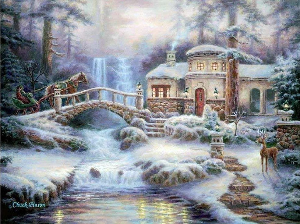 «Зимняя река» Чака ПинсонаPaintboy (Premium)<br><br><br>Артикул: GX9900<br>Основа: Холст<br>Сложность: сложные<br>Размер: 40x50 см<br>Количество цветов: 27<br>Техника рисования: Без смешивания красок