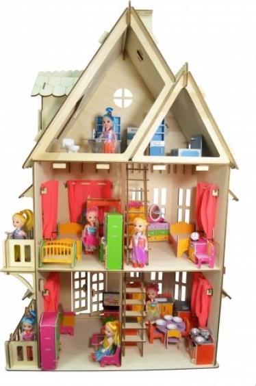 Конструктор «Кукольный домик» из фанерыКонструкторы Happykon<br>Деревянный конструктор Хэппикон Кукольный домик - это идеальная игрушка для девочек. <br> <br> Дом собирается без использования клея, все элементы легко и прочно соединяются друг с другом, а в случае переезда вы сможете также легко и быстро его разобрать. Т...<br><br>Артикул: HK-D001<br>Размер готовой модели: 76x45x29 см<br>Материал: Дерево (фанера)<br>Размер упаковки: 29x44x3 см<br>Возраст: от 5 лет