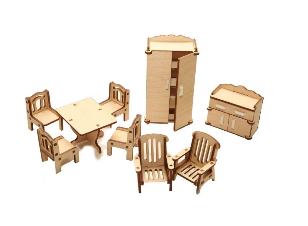 Набор мебели «Зал»Конструкторы Happykon<br>Набор мебели «Зал» создан специально для одной из комнат Конструктора «Кукольный дом».<br> <br> Мебель выполнена из березовой фанеры, но небольшие элементы, например, ручки на дверцах, сделаны из пластика. Все детали собираются без клея, просто вставляются в ...<br><br>Артикул: HK-M002<br>Размер готовой модели: стол (1 шт.): 5x6 см; стул (4 шт.): 3x3x45 см; кресло (2 шт.): 3,5x4x5 см; шкаф (1 шт.) 3x6x11,5 см; тумба под ТВ (1 шт.) 3x6x5,5 см<br>Материал: Дерево (фанера)<br>Размер упаковки: 21x15x2 см<br>Возраст: от 5 лет