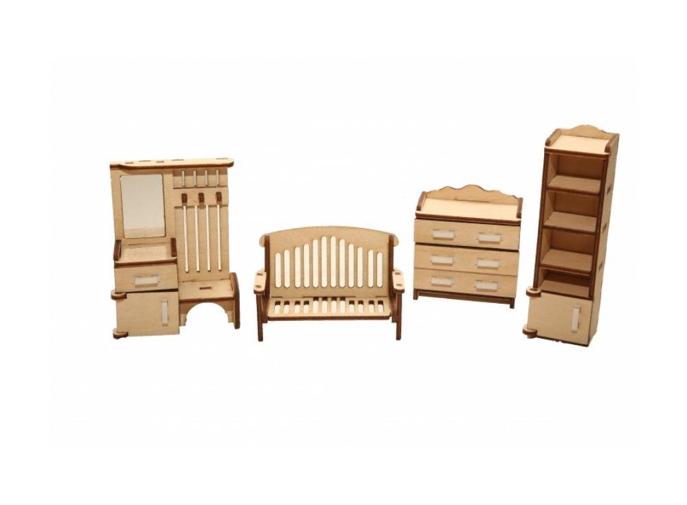 Набор мебели «Прихожая»Конструкторы Happykon<br>Набор мебели «Прихожая» создан специально для одной из комнат Конструктора «Кукольный дом».http://<br> <br> Мебель выполнена из березовой фанеры, но небольшие детали, например, ручки на дверцах, сделаны из пластика. Все элементы собираются без клея, просто вс...<br><br>Артикул: HK-M003<br>Размер готовой модели: вешалка (1 шт.): 3x6,5x9 см; шкаф (1 шт.): 3x3x11,5 см; комод ( 1 шт.): Зx6x6,5 см; скамейка (1 шт.): Зx8x5,5 см<br>Материал: Дерево (фанера)<br>Размер упаковки: 21x15x2 см<br>Возраст: от 5 лет